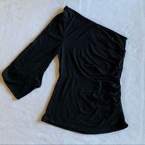 BCBGMAXAZRIA Black One Shoulder Sleeve Blouse